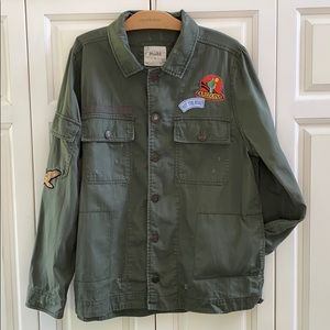 Cool Army Green Distressed Jacket w Patches XL